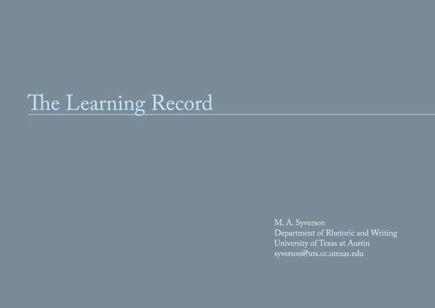 The Learning Record